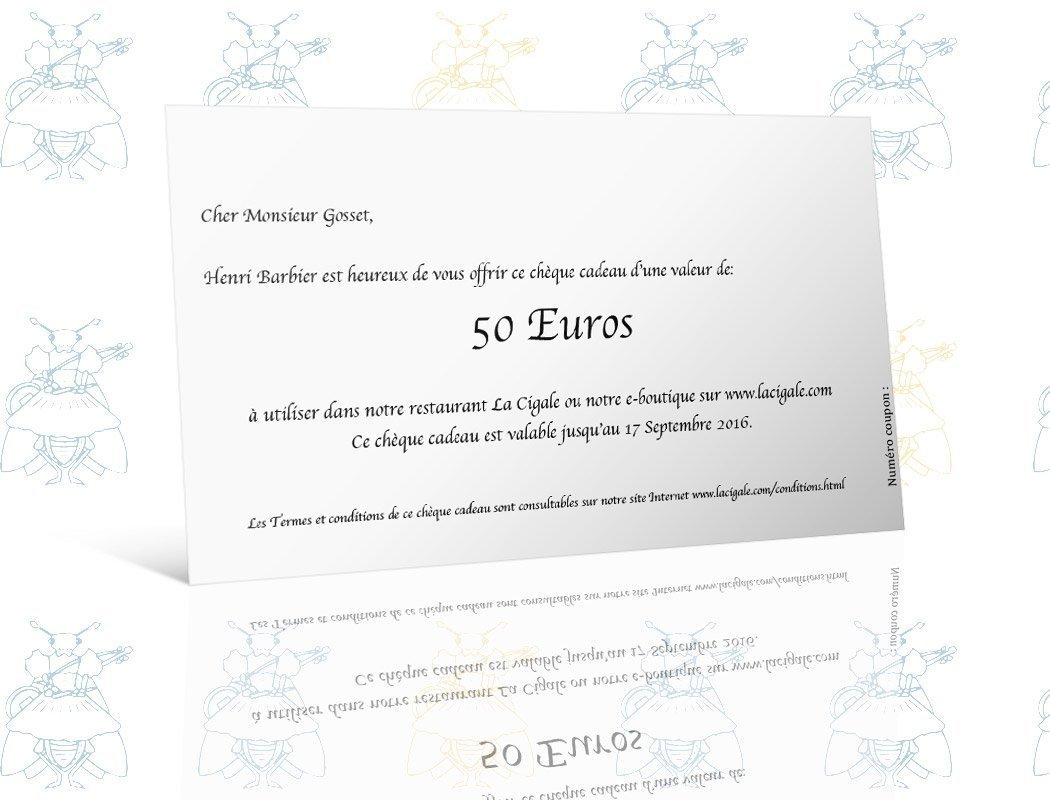 Superbe Carte Cadeau 50 Euros - La Cigale &WR_93