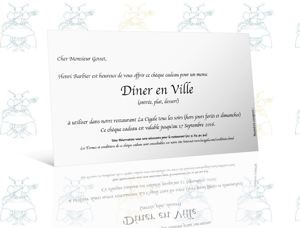 carte cadeau menu diner en ville la cigale. Black Bedroom Furniture Sets. Home Design Ideas